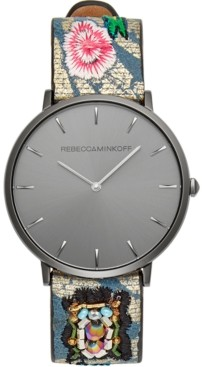 Rebecca Minkoff Women's Major Embroidered Leather Strap Watch 35mm