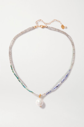 Chan Luu Gold-plated, Pearl And Bead Necklace - Blue