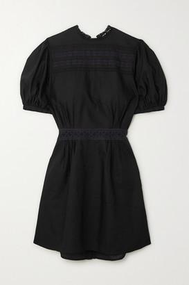 MATIN Este Lace-insert Cotton-voile Mini Dress - Black