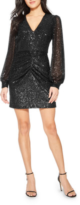 Parker Black Ash Long-Sleeve Sequin Cocktail Dress