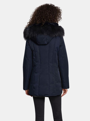 Dawn Levy Luka Fitted Parka with Velvet & Fur Trim