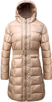 Bronze Puffer Full-Length Hooded Coat