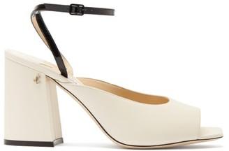Jimmy Choo Jassidy Peep-toe Leather Sandals - White Black