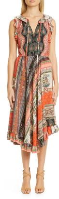 Etro Mixed Print Asymmetrical Ruffle Silk Midi Dress