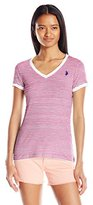 U.S. Polo Assn. Junior's Lace Trim Thin Stripe V-Neck T-Shirt