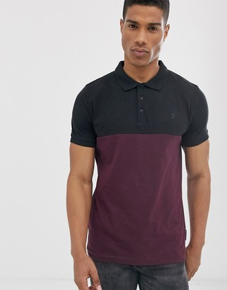 French Connection organic cotton polo in color block black