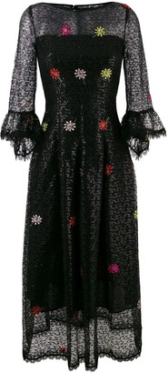 Talbot Runhof Embroidered Lace Flared Dress