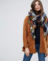 Asos Oversized Square Scarf In Brown Based Check With Yellow Highlight