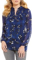 I.N. Studio Long Sleeve Tie-Neck Smudge Floral Print Top