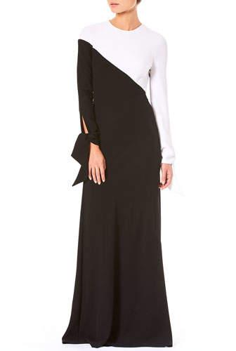 Carolina Herrera Tie-Cuff Long-Sleeve Contrast Bias A-Line Evening Gown
