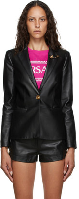 Versace Black Leather Safety-Pin Blazer