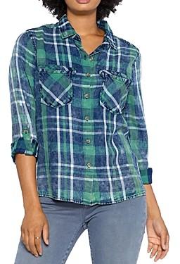 BILLY T Split Back Plaid Button Down Shirt