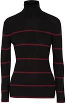 Fendi Striped Ribbed Wool Turtleneck Sweater - Black