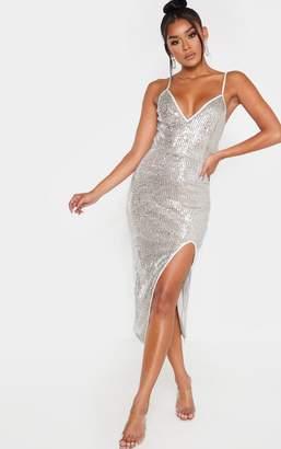 PrettyLittleThing Silver Sequin Split Midi Dress