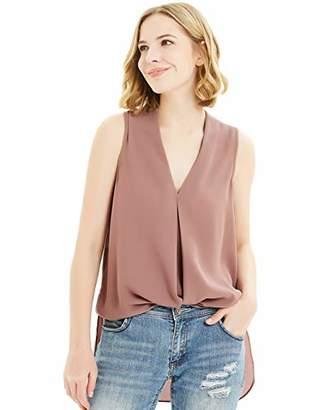 Basic Model Women Summer Tank Tops Chiffon Sleeveless Shirts Blouses Pleated V Neck Casual Tops(Red