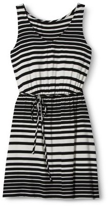 Merona Women's Knit Tank Dress w/Self Tie - Black/White
