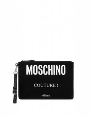 Moschino Couture Cordura Nylon Clutch Man Black Size U It - (one Size Us)