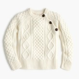 J.Crew Girls' three-button cable sweater in wool
