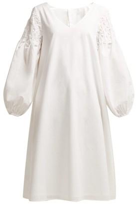 Merlette New York Smocked-shoulder Cotton Dress - Womens - White Gold