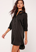 Missguided Lace Insert Satin Shirt Dress Black