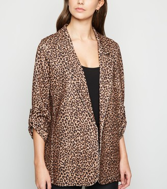 New Look Scuba Leopard Print Blazer