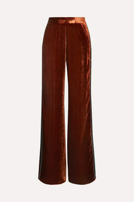 Etro Silk Satin-trimmed Velvet Wide-leg Pants - Copper