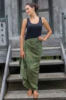 Dark Olive Cotton Rayon Blend Women's Print Sarong, 'Green Coffee Bean'