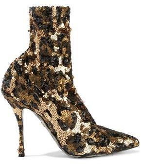Dolce & Gabbana Lori Leopard-print Sequined Mesh Sock Boots