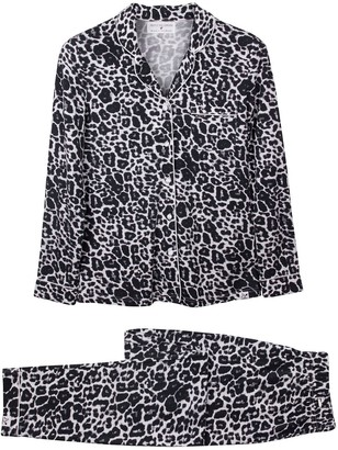 Pretty You London Bamboo Long Sleeved Trouser Pyjama Set In Leopard Print