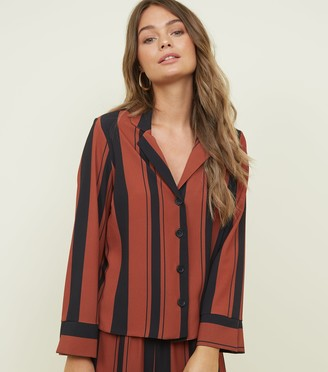 New Look Rust Stripe Revere Collar Long Sleeve Shirt