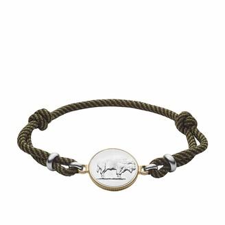Fossil Modern Americana Olive Fabric Station Bracelet