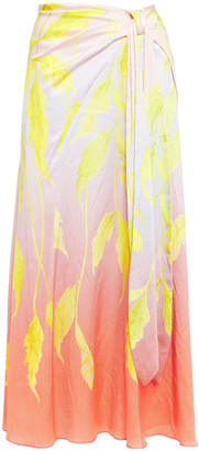 Peter Pilotto Knotted Printed Hammered Silk-blend Satin Midi Dress