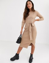 New Look tie waist maxi knitted dress in oatmeal