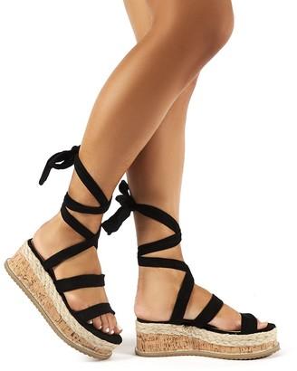 Public Desire Presca Faux Suede Lace Up Sandals