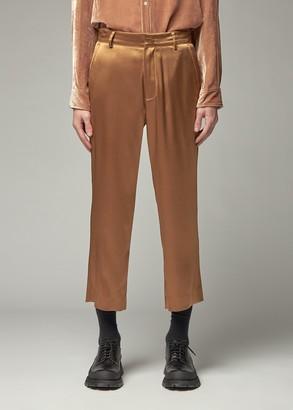 Sies Marjan Men's Alex Crinkled Satin Pant in Praline Size 34 Triacetate/Polyester/Cotton