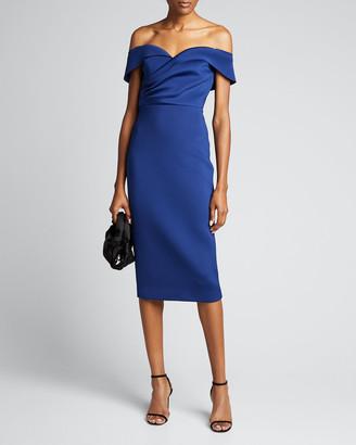 Badgley Mischka Off-the-Shoulder Draped Top Scuba Dress