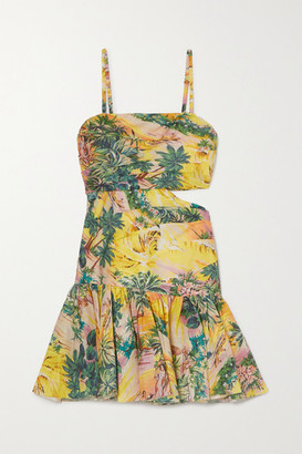 Zimmermann Juliette Cutout Pleated Printed Linen Mini Dress - Yellow