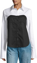 Tibi Satin Poplin Bustier Shirt