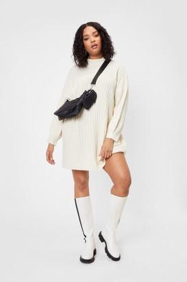 Nasty Gal Womens Knit Different Plus Turtleneck Midi Dress - White