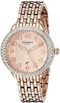 Akribos XXIV Women's AK831SSBR Quartz Movement Watch with Brown Dial Featuring a Crystal Filled Bezel and Silver Bracelet