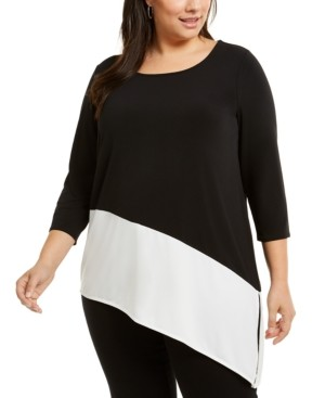 Alfani Plus Size Colorblock Asymmetric Top, Created for Macy's