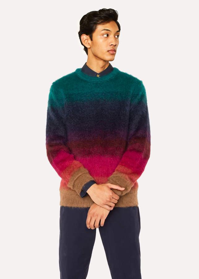 Paul Smith Men's Gradient 'Artist Stripe' Wool-Mohair Sweater