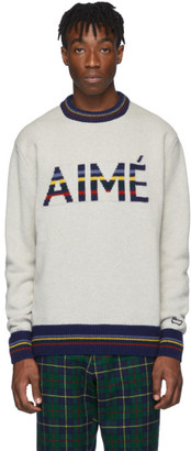 Woolrich Aime Leon Dore Grey Edition Knit Logo Print Sweater