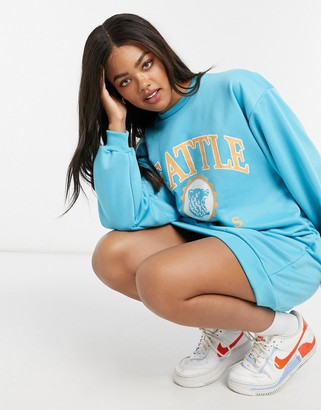ASOS DESIGN mini sweat dress in turquoise with seattle logo