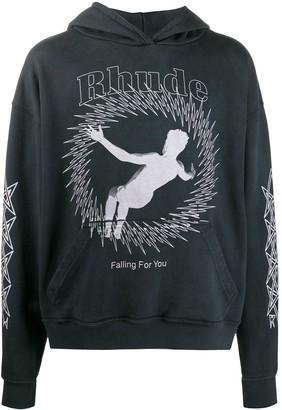 Rhude Falling For You logo hoodie