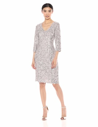 Alex Evenings Women's Midi Length V-Neck Shift Dress with Sleeves