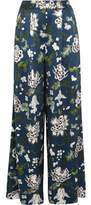 ADAM by Adam Lippes Floral-Print Silk-Charmeuse Wide-Leg Pants