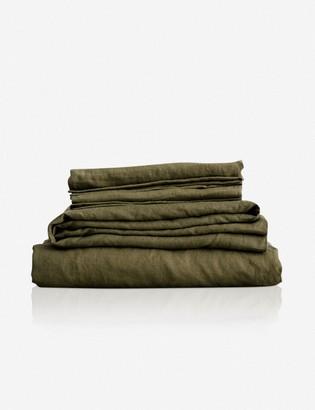 Lulu & Georgia Cultiver Linen Bedding, Olive Sheet Set