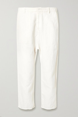 Nili Lotan Luna Cropped Cotton And Linen-blend Twill Pants - White