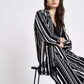River Island Womens Black stripe embroidered hem longline blazer